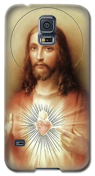 Galaxy S5 Case featuring the mixed media Sacred Heart Of Jesus by Movie Poster Prints