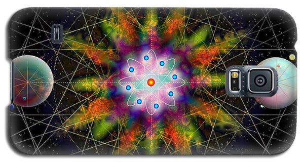 Galaxy S5 Case featuring the digital art Sacred Planetary Geometry - Dark Red Atom by Iowan Stone-Flowers