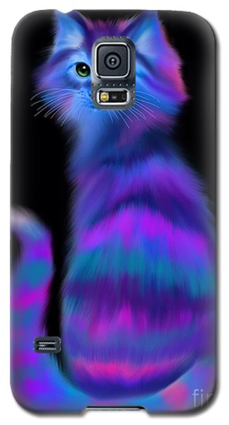 Galaxy S5 Case featuring the painting Sad Eyed Colorful Cat by Nick Gustafson