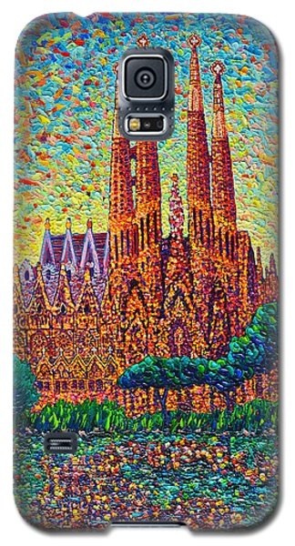 Sagrada Familia Barcelona Modern Impressionist Palette Knife Oil Painting By Ana Maria Edulescu Galaxy S5 Case by Ana Maria Edulescu