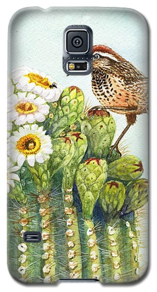 Galaxy S5 Case featuring the painting Saguaro And Cactus Wren by Marilyn Smith