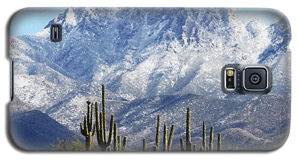 Saguaros At Four Peaks With Snow Galaxy S5 Case by Tom Janca