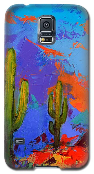 Saguaros Land Sunset By Elise Palmigiani - Square Version Galaxy S5 Case