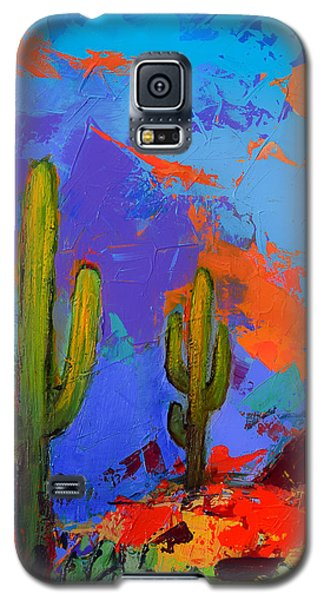 Galaxy S5 Case featuring the painting Saguaros Land Sunset By Elise Palmigiani - Square Version by Elise Palmigiani