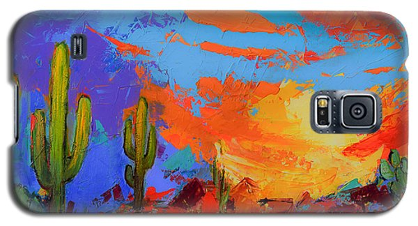 Galaxy S5 Case featuring the painting Saguaros Land Sunset by Elise Palmigiani