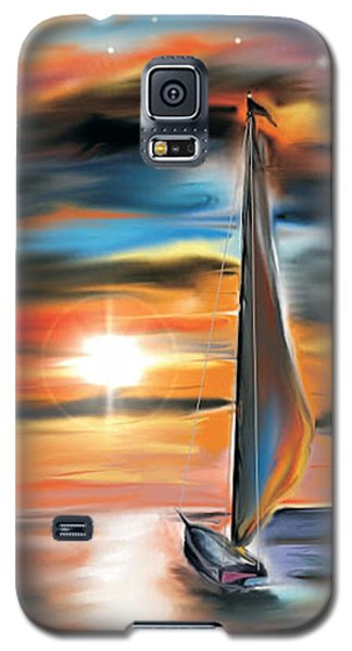 Sailboat And Sunset Galaxy S5 Case