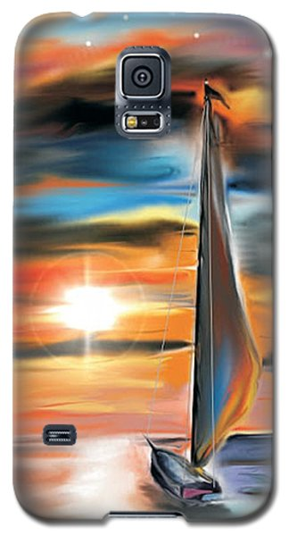 Sailboat And Sunset Galaxy S5 Case by Darren Cannell