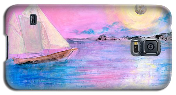 Sailboat In Pink Moonlight  Galaxy S5 Case by Robin Maria Pedrero
