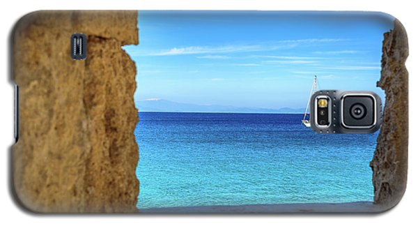 Sailboat Through The Old Stone Walls Of Rhodes, Greece Galaxy S5 Case