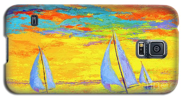 Sailboats At Sunset, Colorful Landscape, Impressionistic Art Galaxy S5 Case