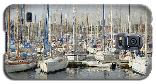 Galaxy S5 Case featuring the painting Sailboats At The Dock - Painting by Ericamaxine Price
