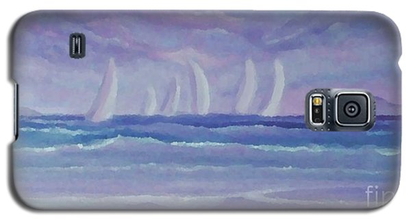 Galaxy S5 Case featuring the painting Sailing At Twilight by Holly Martinson
