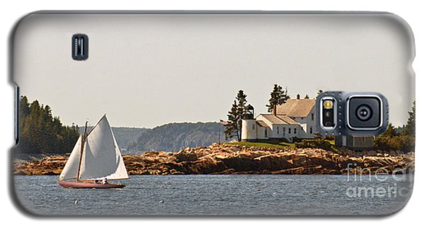 sailing by Mark Island lighthouse Galaxy S5 Case by Christopher Mace