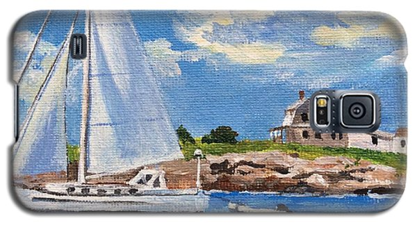 Sailing Past Wood Island Lighthouse Galaxy S5 Case
