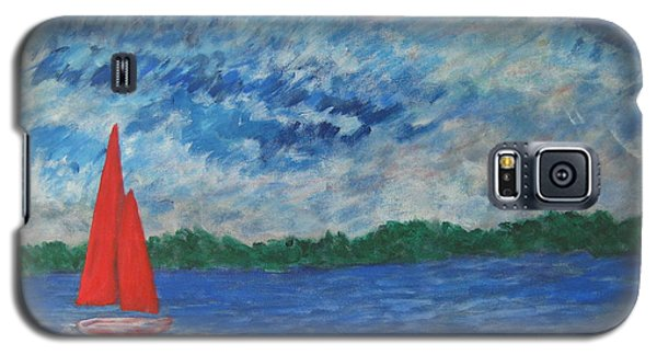 Galaxy S5 Case featuring the painting Sailing The Wind by John Scates