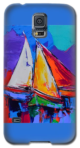 Galaxy S5 Case featuring the painting Sails Colors by Elise Palmigiani