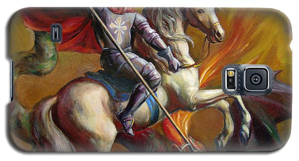 Galaxy S5 Case featuring the painting Saint George And The Dragon by Svitozar Nenyuk