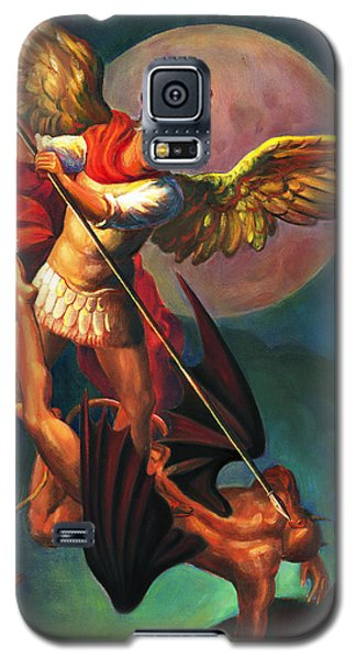 Galaxy S5 Case featuring the painting Saint Michael The Warrior Archangel by Svitozar Nenyuk