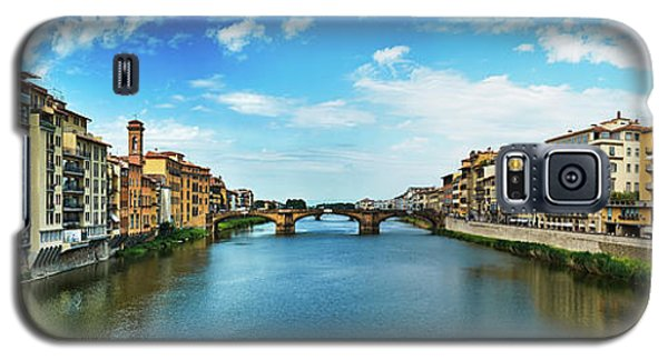 Panoramic View Of Saint Trinity Bridge From Ponte Vecchio In Florence, Italy Galaxy S5 Case