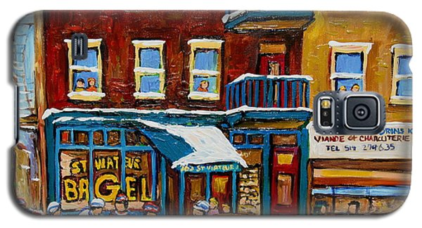 Galaxy S5 Case featuring the painting Saint Viateur Bagel With Hockey by Carole Spandau