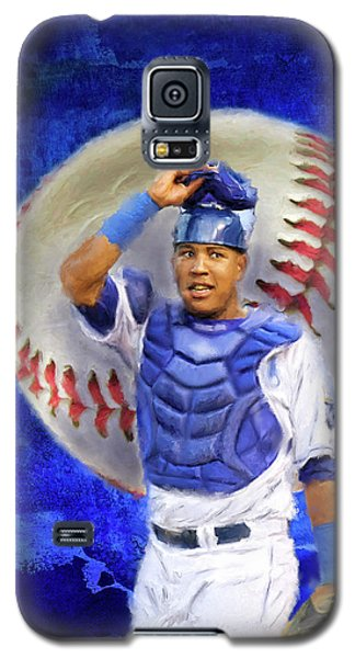 Galaxy S5 Case featuring the mixed media Salvador Perez-kc Royals by Colleen Taylor