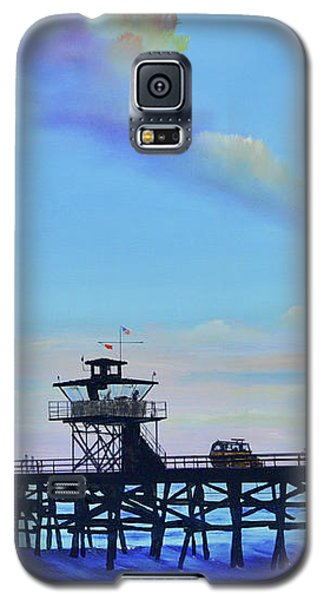 Galaxy S5 Case featuring the painting San Clemente High Surf by Mary Scott