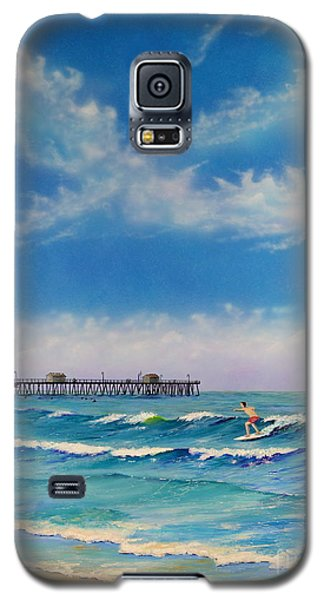 Galaxy S5 Case featuring the painting San Clemente Surf by Mary Scott
