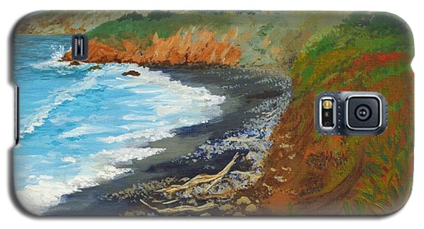 Galaxy S5 Case featuring the painting San Simeon Ca Coast by Katherine Young-Beck