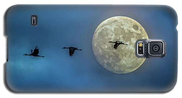 Sandhill Cranes With Full Moon Galaxy S5 Case
