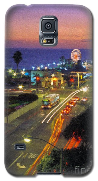 Galaxy S5 Case featuring the photograph Santa Monica Ca Pacific Park Pier  Sunset by David Zanzinger