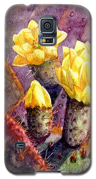 Galaxy S5 Case featuring the painting Santa Rita Prickly Pear Cactus by Marilyn Smith