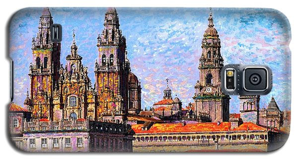 Galaxy S5 Case featuring the painting Santiago De Compostela, Cathedral, Spain by Jane Small