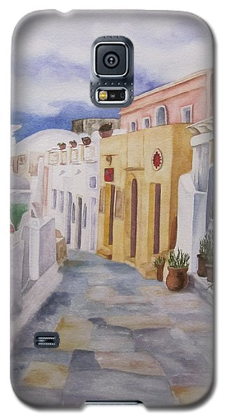 Galaxy S5 Case featuring the painting Santorini Cloudy Day by Teresa Beyer