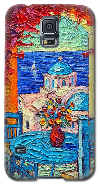 Santorini Dream Greece Contemporary Impressionist Palette Knife Oil Painting By Ana Maria Edulescu Galaxy S5 Case