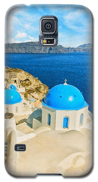 Santorini Oia Church Caldera View Digital Painting Galaxy S5 Case
