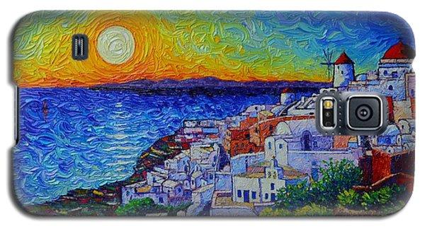 Santorini Oia Sunset Modern Impressionist Impasto Palette Knife Oil Painting By Ana Maria Edulescu Galaxy S5 Case