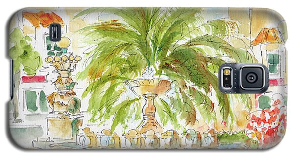 Galaxy S5 Case featuring the painting Sausalito Fountain by Pat Katz