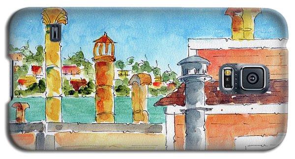 Galaxy S5 Case featuring the painting Sausalito Smokestacks by Pat Katz