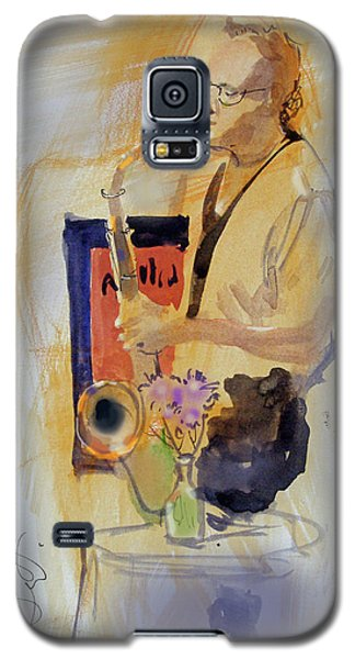 Galaxy S5 Case featuring the painting Sax Man by Gertrude Palmer