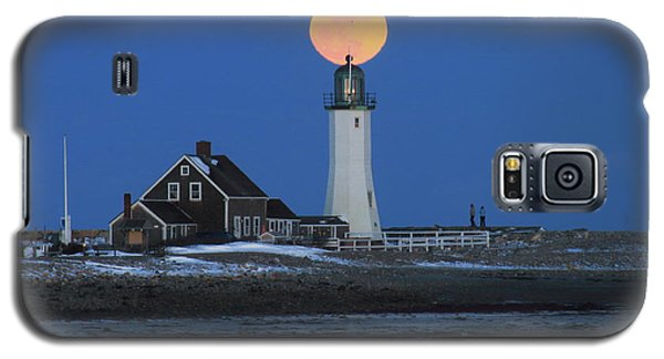 Scituate Lighthouse Snow Moon Galaxy S5 Case by John Burk