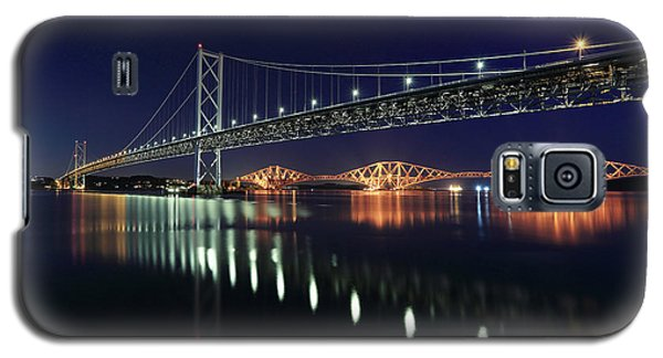 Scottish Steel In Silver And Gold Lights Across The Firth Of Forth At Night Galaxy S5 Case