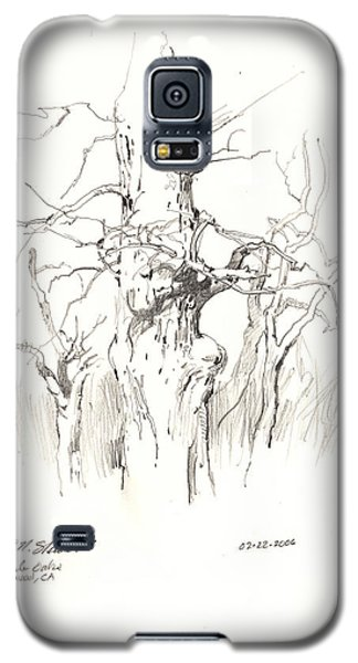 Galaxy S5 Case featuring the drawing Scrub Oaks In Cottonwood by John Norman Stewart