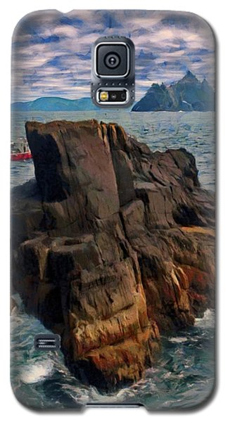 Galaxy S5 Case featuring the painting Sea And Stone by Jeff Kolker