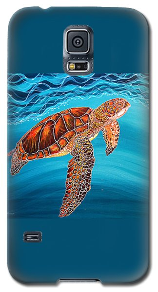 Galaxy S5 Case featuring the painting Sea Turtle by Debbie Chamberlin