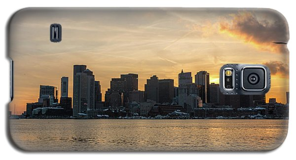 Seagull Flying At Sunset With The Skyline Of Boston On The Backg Galaxy S5 Case