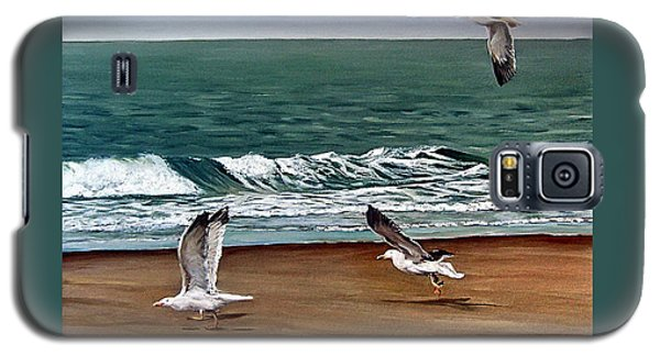 Galaxy S5 Case featuring the painting Seagulls 2 by Natalia Tejera