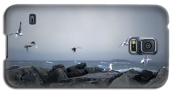 Galaxy S5 Case featuring the photograph Seagulls In Flight by Larry Keahey