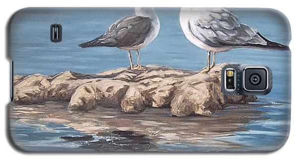 Galaxy S5 Case featuring the painting Seagulls In The Sea by Natalia Tejera