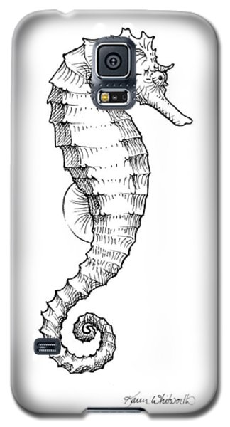 Galaxy S5 Case featuring the drawing Seahorse Black And White Sketch by Karen Whitworth