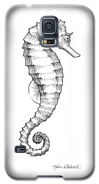 Seahorse Black And White Sketch Galaxy S5 Case